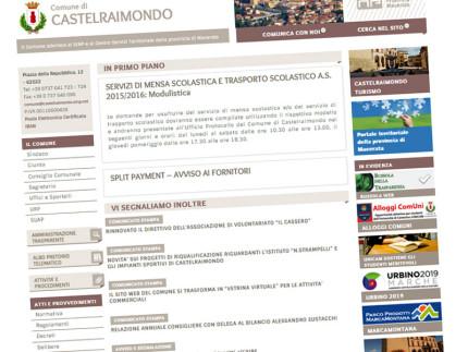 L'home page del sito del Comune di Castelraimondo