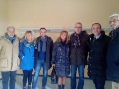 La visita di Ceriscioli all'ex ospedale di Camerino: da sx Montaruli, Nalli, Lucarelli, Ferranti, Ceriscioli, Pasqui e Vannucci