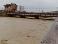 La situazione del fiume Misa a Senigallia durante il maltempo del 23 marzo 2016