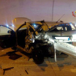 Una delle due auto coinvolte nell'incidente in galleria a Serravalle di Chienti, lungo la SS77
