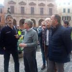 Visita del commissario per la ricostruzione Vasco Errani a Camerino dopo il terremoto del 24 agosto