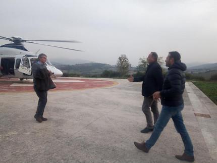 Visita del commissario per la ricostruzione Vasco Errani a Camerino dopo il terremoto del 24 agosto, accolto dal sindaco Gianluca Pasqui e dal vicesindaco Roberto Lucarelli