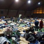 Il palazzetto polivalente delle Calvie a Camerino usato come campo di prima accoglienza dopo il terremoto del 26 ottobre 2016