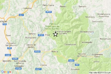 La mappa della scossa di terremoto avvenuta giovedì 27 ottobre nel maceratese, nei pressi di Castelsantangelo sul Nera