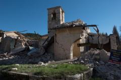 Una delle tante zone di Visso crollate per il terremoto del 30 ottobre