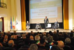 Incontro a Macerata con Matteo Renzi, Luca Ceriscioli, Vasco Errani e Fabrizio Curcio e i sindaci delle Marche dopo il terremoto del 26 e 30 ottobre 2016