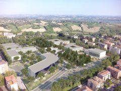 Rendering dei lavori approvati nell'area ex-Saram a Macerata