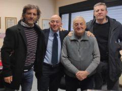 Il sindaco di Camerino Sandro Sborgia con tre nuovi collaboratori