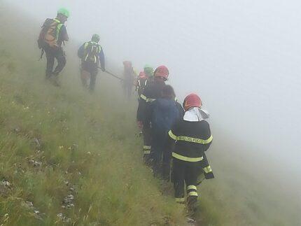 Soccorritori in montagna a Montefortino