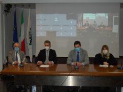 Francesco Acquaroli, gli assessori Giorgia Latini, Francesco Baldelli e Filippo Saltamartini